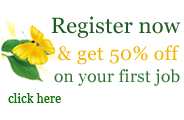 Register now & get 50% off on your first job